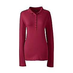 Lands' End - Red petite long sleeves pima polo