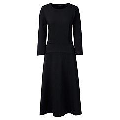 Lands' End - Black ponte jersey flounce dress