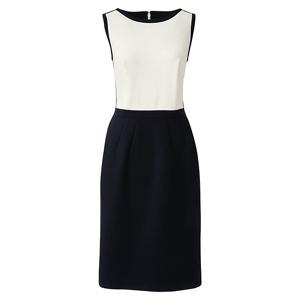 Lands' End White petite sleeveless colourblock shift dress