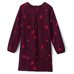 Lands' End - Girls' red print a-line corduroy dress