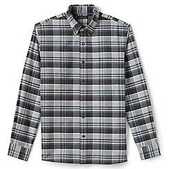 Lands' End - Grey regular traditional fit patterned sail rigger oxford shirt