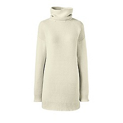Lands' End - Cream lofty cotton rollneck tunic