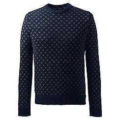 Lands' End - Blue regular birdseye drifter cotton sweater