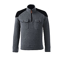 Lands' End - Grey regular sweater fleece zip-neck pullover