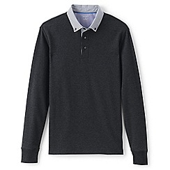 Lands' End - Grey regular long sleeve woven collar supima polo