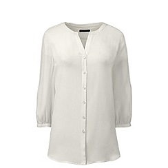 Lands' End - Cream pintucked sleeve blouse