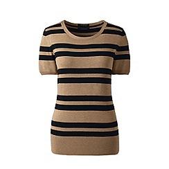Lands' End - Beige short sleeve striped supima jewelneck