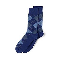 Lands' End - Blue cotton-rich dress socks