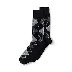 Lands' End - Black cotton-rich dress socks