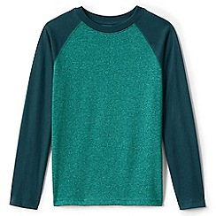 Lands' End - Green boys' long sleeve textured raglan tee