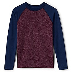 Lands' End - Red boys' long sleeve textured raglan tee