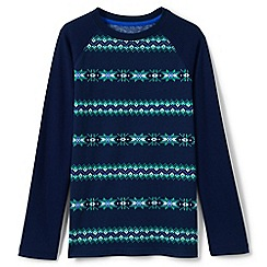 Lands' End - Blue boys' long sleeve printed raglan tee