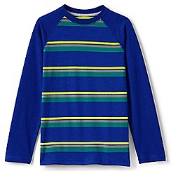 Lands' End - Blue boys' long sleeve stripe raglan tee