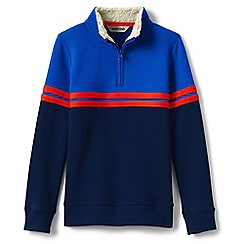 Lands' End - Blue boys' quarter zip polo neck top
