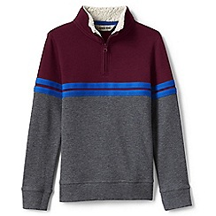 Lands' End - Red boys' quarter zip polo neck top