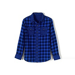 Lands' End - Blue pattern block flannel shirt