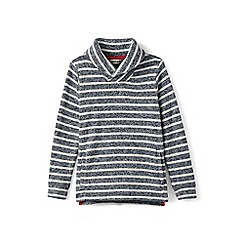 Lands' End - Grey boys' shawl collar stripe sweater