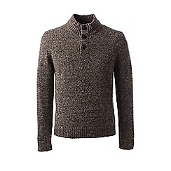 Lands' End - Brown regular marled button-neck sweater