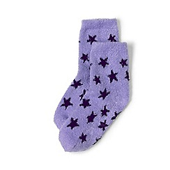 Lands' End - Girls' purple cosy slipper socks