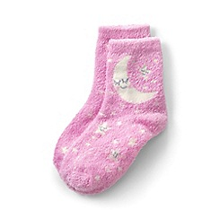 Lands' End - Girls' pink cosy slipper socks