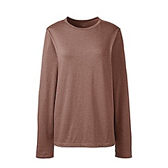 Lands' End - Brown regular supima long sleeved crew neck t-shirt
