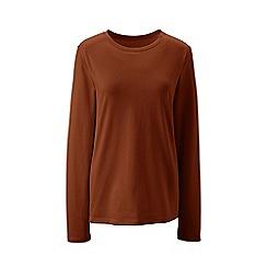 Lands' End - Brown regular supima long sleeved crew neck t-shirt