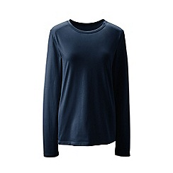 Lands' End - Blue supima long sleeved crew neck t-shirt