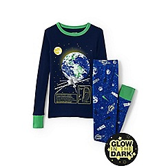Lands' End - Boys' blue glow-in-the-dark snug fit pyjama set