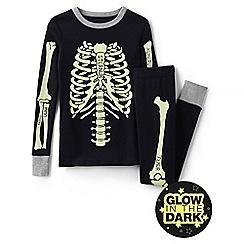 Lands' End - Black boys' skeleton snug fit pyjama set