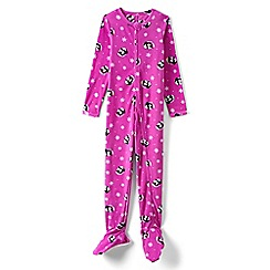 Lands' End - Girls' pink fleece onesie