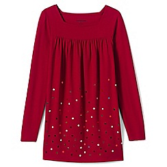Lands' End - Red girls' long sleeve embellished front yoke legging top