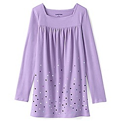 Lands' End - Purple girls' long sleeve embellished front yoke legging top