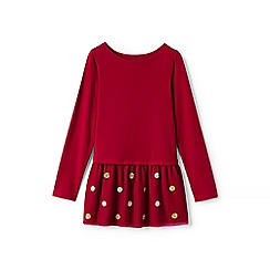 Lands' End - Red girls' long sleeve embellished tulle legging top