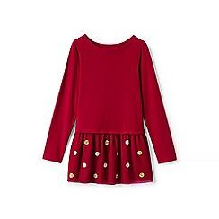 Lands' End - Red girls' long sleeve embellished tulle legging top