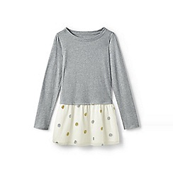 Lands' End - Grey girls' long sleeve embellished tulle legging top
