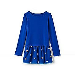 Lands' End - Blue girls' long sleeve embellished tulle legging top