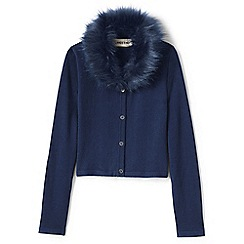 Lands' End - Blue girls' fur collar v-neck sophie cardigan