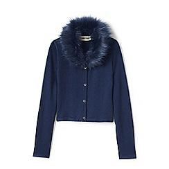 Lands' End - Blue girls' fur collar v-neck sophie cardigan