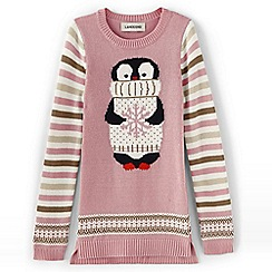 Lands' End - Pink girls' long animal jumper