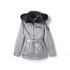 Lands' End - Grey girls' quilted metallic coat