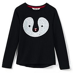 Lands' End - Red girls' sequin penguin fleece sweatshirt