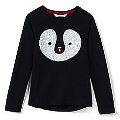 Lands' End - Red girls' sequin penguin fleece sweatshirt