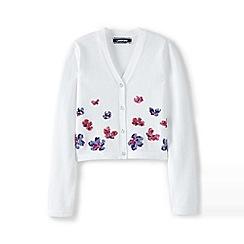 Lands' End - Girls' white sparkle v-neck sophie cardigan