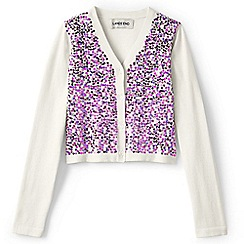 Lands' End - White girls' sparkle v-neck sophie cardigan