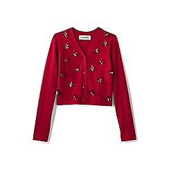 Lands' End - Red girls' sparkle v-neck sophie cardigan