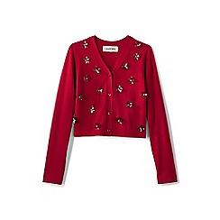 Lands' End - Red girls' sparkle v-neck sophie cardigan