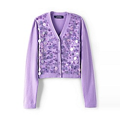 Lands' End - Girls' purple sparkle v-neck sophie cardigan
