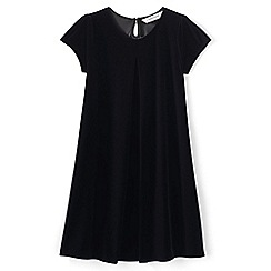 Lands' End - Black girls' cap sleeve velveteen dress