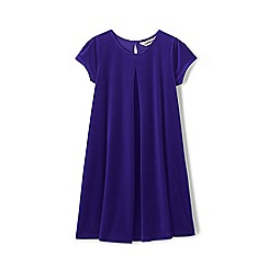 Lands' End - Purple girls' cap sleeve velveteen dress