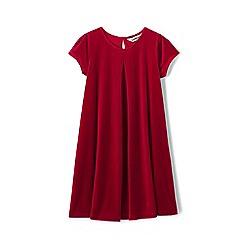 Lands' End - Red girls' cap sleeve velveteen dress